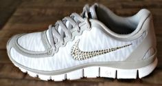 LOVE these but not for the price!! Nike free 5.0 v4 with Swarovki detail White by HarrietHazelDesigns, $198.00