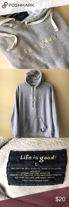 Men's Life is Good Sweatshirt sz L This is a great heavyweight sweatshirt. It has some light colored paint on the back of shoulder and smaller spots that are on front and sleeve. A few other small stains mostly on front hand pocket area pictured above. Listed as men's but this is great for women as well. Size L Life is Good Shirts Sweatshirts & Hoodies