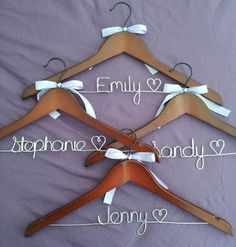 Set of 5 personalized bridal hangers.