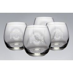 NCAA - Ohio State Buckeyes 11.5 oz Deep Etched Stemless White Wine Glass Four Pack