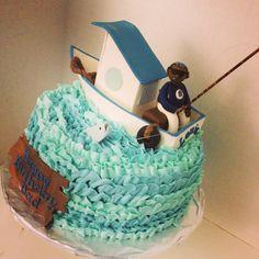 Fisherman cake :) fondant decorations and buttercream icing