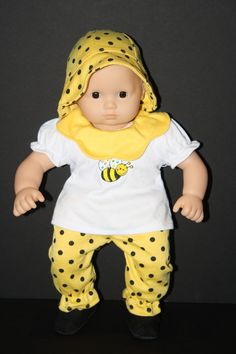 Yellow and Black Bumblebee Outfit for Bitty Baby $19.50 on weeline.com
