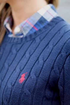 New England Classic Style | Blue Ralph Lauren cable knit jumper | Plaid shirt