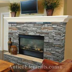 Fireplace surround, simple mantle, raised hearth, stone colour (grey w/ brown accents)