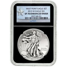 2013-W Silver American Eagle West Point 2pc Set 70 UC NGC Black Core / Enhanced Mint State