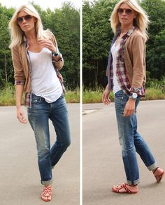 fall weekend style: boyfriend jeans, plaid, cardi
