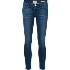 Frame Denim 'Le Skinny Crop' jeans ($265) ❤ liked on Polyvore featuring jeans, pants, blue, cropped jeans, super skinny jeans, frame denim, skinny fit jeans and blue jeans