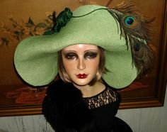 Peacock Straw Flapper Hat