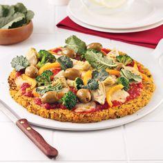 Pizza aux légumes avec croûte de chou-fleur - Les recettes de Caty Pizza Recipes, Raw Food Recipes, Keto Recipes, Healthy Recipes, Healthy Food, Sauce Au Caramel, Pizza Legume, Raw Vegan, Vegetable Pizza