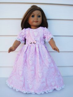 Valentine Day Dress, American Girl Doll Clothes, Long Dress, Pink, Valentine's Day, Eiffel Tower, je t'aime, 18 Inch Doll Clothes. $18.00, via Etsy.
