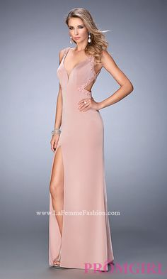 V-Neck La Femme Prom Dress with Open Back Style: LF-22713