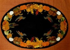 Primitive Gatherings Autumn's glory table mat The Pattern Hutch Fall pumpkins wool applique craft pattern