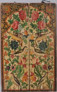 Pair of antique Persian hand-painted wood panels,