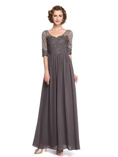 LAN TING BRIDE A-line Mother of the Bride Dress - Elegant Ankle-length Half Sleeve Chiffon Lace with Beading Draping Lace - USD $99.99 ! HOT Product! A hot product at an incredible low price is now on sale! Come check it out along with other items like this. Get great discounts, earn Rewards and much more each time you shop with us!