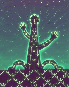 Noche con cactus