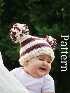 Baby hat patterns Baby knitting patterns Baby knit baby patterns Knitting Baby girl clothes Children patterns hat pattern 0-48 months. $5.00, via Etsy.