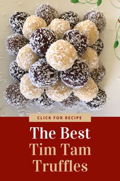 Just 2 ingredients in these divine Tim Tam Truffles. They are so delicious and versatile, make great gifts, especially at Christmas. Christmas Truffles, Christmas Treats, Christmas Hamper, Christmas Candy, Xmas Food, Christmas Cooking, Best Dessert Recipes, Sweet Recipes, Christmas Recipes
