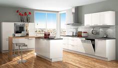 Trend-Einbauküche Chamonix Weiss-Glaenzend - Küchen Quelle