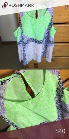 J Crew silk blouse Beautiful color block floral print silk blouse. Green, navy, purple and pink. Dry Clean Only. Used once, like new J. Crew Tops Blouses