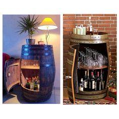Restored barrel bar! Barrel Bar, Furniture Restoration, Liquor Cabinet, Construction, Home Decor, Building, Decoration Home, Room Decor, Restoring Furniture
