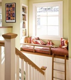 Reading nook / window seat accessible from stairs via ladder. Steuerwald I instantly thought of your window seat dream when I saw this! Reading Loft, Reading Nooks, Kids Reading, Book Nooks, Reading Time, Traditional Staircase, Ideas Hogar, Cozy Nook, Design Case