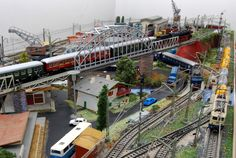 Analog Marklin scenery with the train models 3085, 3034 and 3161