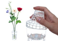3D printed 'clip on glass' modifies cup into vase by aleksandar dimitrov of AD-3D #3dPrintedHomeDecor
