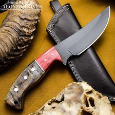 ALONZO KNIVES USA CUSTOM HANDMADE TACTICAL HUNTING 1095 KNIFE RAM HORN HANDL 395 #AlonzoKnives