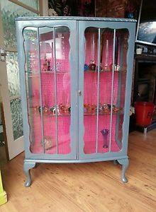 Vintage, retro upcycled glass display cabinet. Bit gaudy