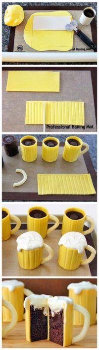Beer Mug Cupcakes with Baileys