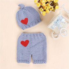 Newborn Baby Girls Boys Crochet Knit Heart Costume Photo Photography Prop Outfits