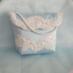 Something Blue Satin & French Alencon Lace Wedding Purse Handbag, OOAK.