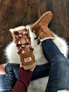 Ugg Boots With Bows, Bow Boots, Cute Shoes Boots, Tall Ugg Boots, Boots With Fur, Ugg Snow Boots, Furry Boots, Ugg Winter Boots, High Boots