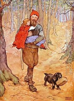 Frank Adams:The Woodcutter carries Red Riding Hood home, illustration from 'The Beautiful Book of Nursery Rhymes, Stories and Pictures'