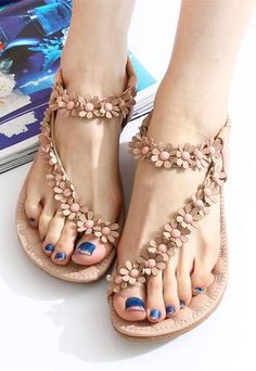 FASHION NEW STYLE SWEET BOHEMIAN BEADED SANDALS SHOES...I would love these if they'd be comfortable for my feet.