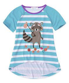 5a3feeba7dbf Sunshine Swing Blue   White Stripe Raccoon Raglan Tee - Toddler   Girls