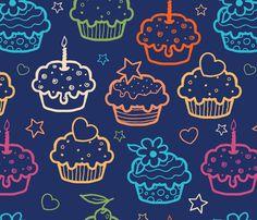 Cupcakes On Dark Blue fabric by oksancia on Spoonflower - custom fabric