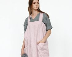 83cf370efd Linen apron   Linen pinafore   Square Cross Linen Apron   Japanese Apron    apron with pockets   oversized apron   linen tunic   linen top