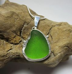 Lime Green Bezel Set Sea Glass Necklace by SilverandSeaJewelry