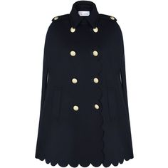Redvalentino Scalloped Trim Wool Cape (3 210 PLN) ❤ liked on Polyvore featuring outerwear, red valentino cape, navy wool cape, double breasted cape coat, sleeveless cape and navy cape coat