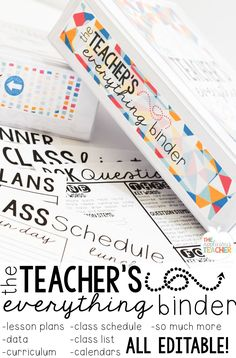 Ready to start the year off organized and ready to go! A teacher binder is the perfect tool to help you get and stay organized! From lesson plans and standards, this binder will hold all that teacher stuff you need to keep around! Teacher Binder, Teacher Organization, Teacher Tools, Teacher Hacks, Teacher Resources, Teachers Toolbox, Organized Teacher, Teacher Stuff, Organizing