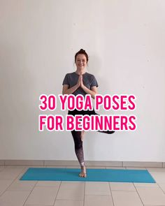 In this video, I'm going to demonstrate 30 common beginner yoga poses that you'll probably see in almost every yoga class. In this video, I'm going to demonstrate 30 common beginner yoga poses that you'll probably see in almost every yoga class. Yoga Bewegungen, Yoga Moves, Vinyasa Yoga, Yoga Meditation, Meditation Videos, Fat Yoga, Sleep Yoga, Yoga Videos For Beginners, Yoga Routine For Beginners