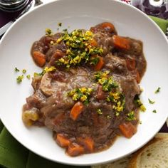 Beef Osso Bucco. Thick, savory sauce complimented by gremolata, a chopped herb condiment made of lemon zest, garlic, and parsley.