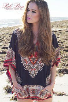 Vintage 70s Dashiki Boho Gypsy Hippie Cotton Shirt Tunic in Small to Medium.