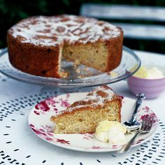 An apple cake recipe made with fresh bramley apples and lemon juice and zest. Serve with clotted cream.
