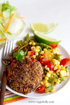 southwestern black bean and brown rice burgers with roasted poblano sweet corn salsa ...