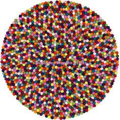 100cm Handmade 100% Wool Multicolour Felt Ball Rug Nursery Rug Home and Kids Room Decoration Area Rug Mat Carpet - Made in Nepal A