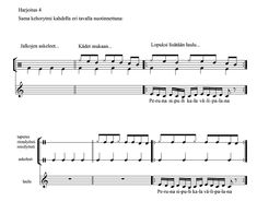 Kehorytmiharjoituksia | etno.net Teaching Materials, Percussion, Sheet Music, Music Score, Music Notes, Percussion Instrument