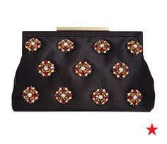 Brooch-like jewels make this Badgley Mischka clutch a glamorous finishing touch for your party look. It could work with a cute LBD, but why not go for a colorful option like purple or orange?