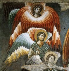 Angels from the Last Judgement, Pietro Cavallini, Florence. Fresco in Santa Cecilia in Trasevere, Rome ca Fresco, Medieval Art, Renaissance Art, European History, Art History, Tempera, Sainte Cecile, Best Icons, Angels Among Us